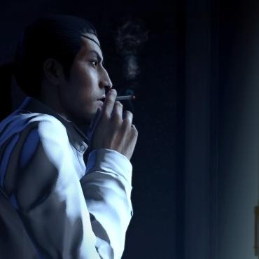 Majima smoking a cigarette. Still badass.
