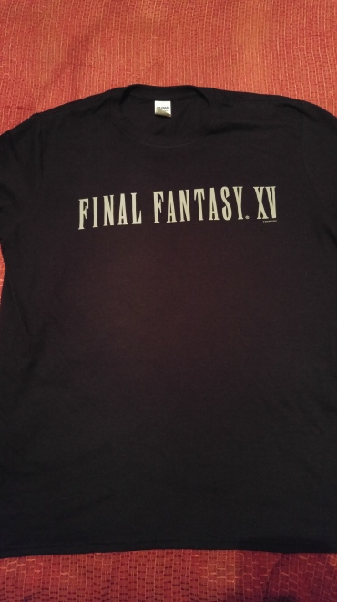 The front of the Final Fantasy XV t-shirt. The t-shirt does not come with the UCE.