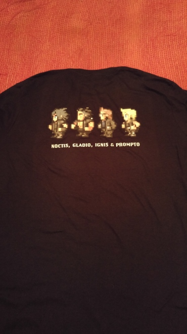 The back of the Final Fantasy XV t shirt. It has 8-Bit versions of the protagonists.