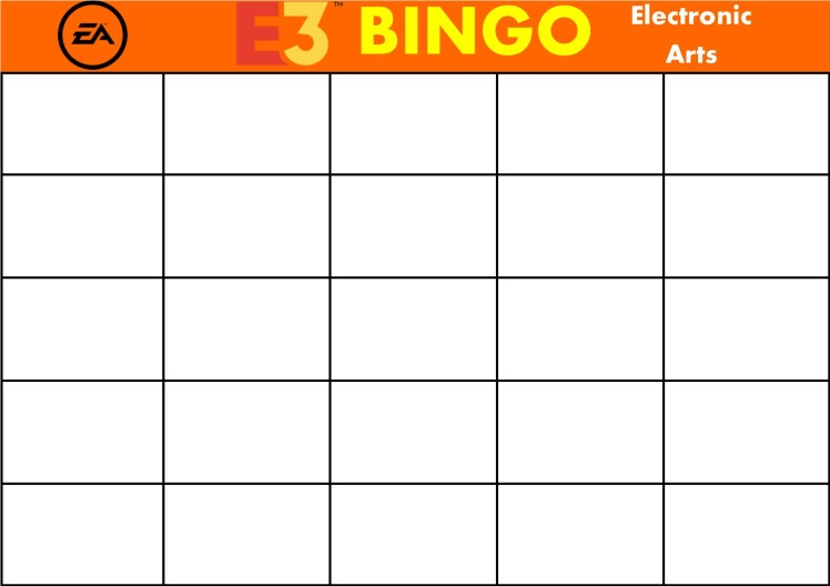 E3 Bingo Card (Electronic Arts) Template
