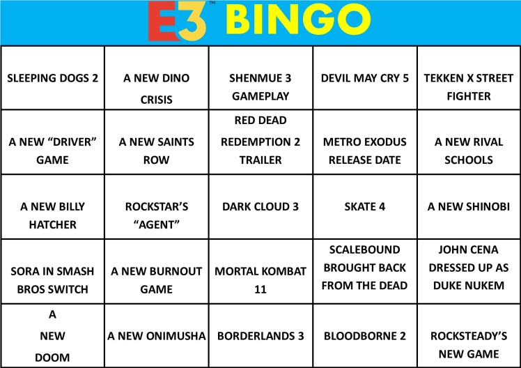 E3 Bingo Card (Every Show) Filled In