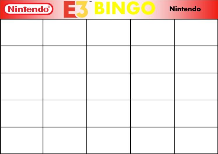 E3 Bingo Card (Nintendo) Template