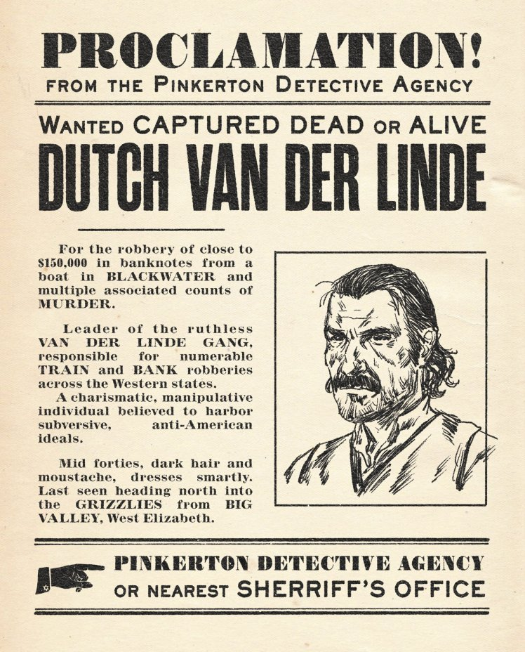 RDR 2 Dutch Wanted Poster